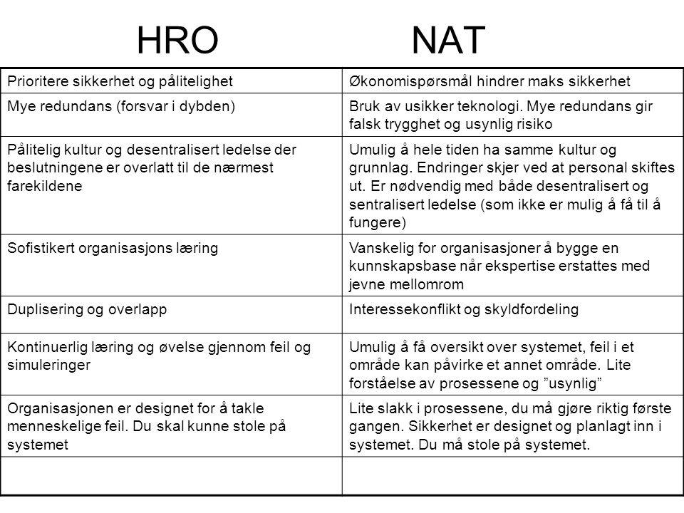 HRO NAT Prioritere sikkerhet og pålitelighet