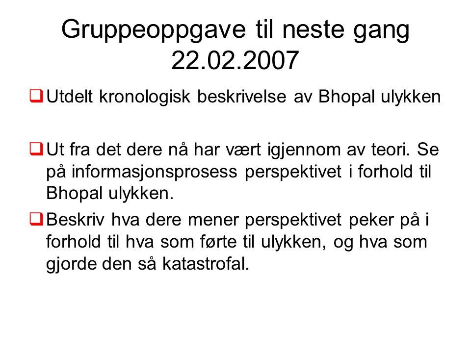 Gruppeoppgave til neste gang 22.02.2007