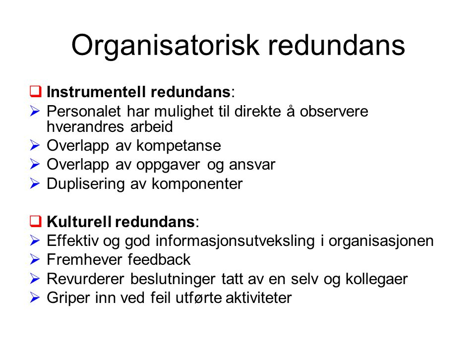 Organisatorisk redundans