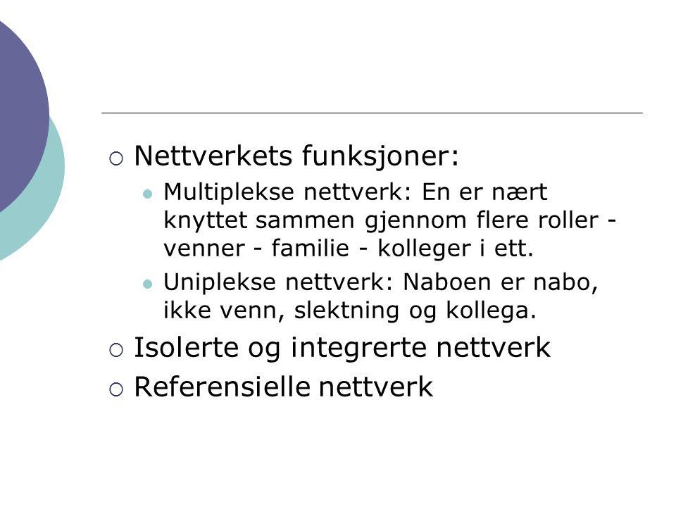 Nettverkets funksjoner: