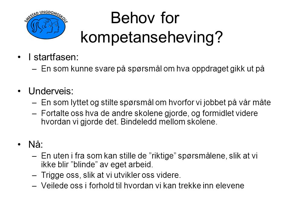 Behov for kompetanseheving