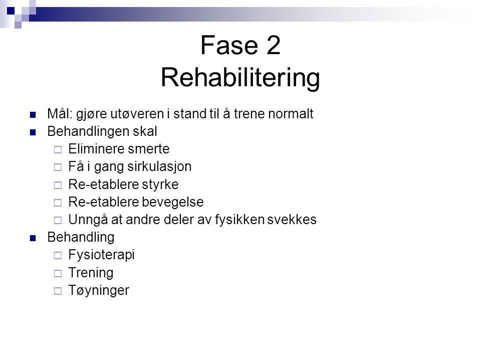 Fase 2 Rehabilitering Mål: gjøre utøveren i stand til å trene normalt