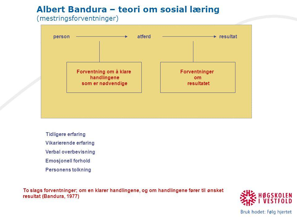 Albert Bandura – teori om sosial læring (mestringsforventninger)