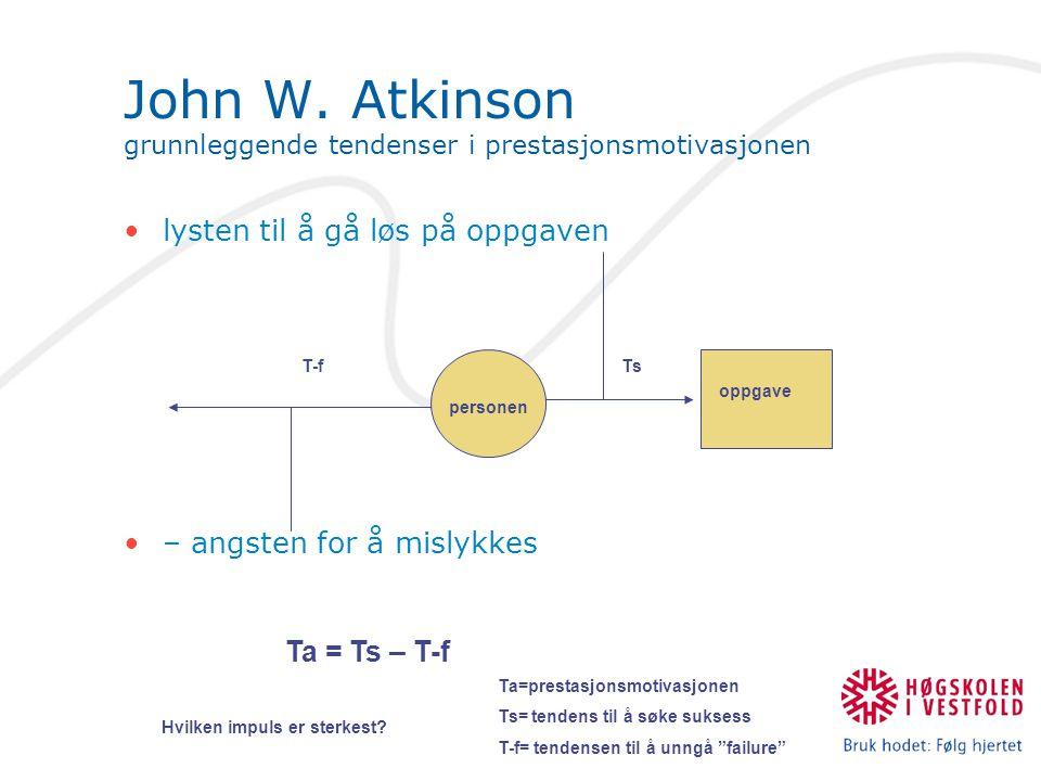 John W. Atkinson grunnleggende tendenser i prestasjonsmotivasjonen