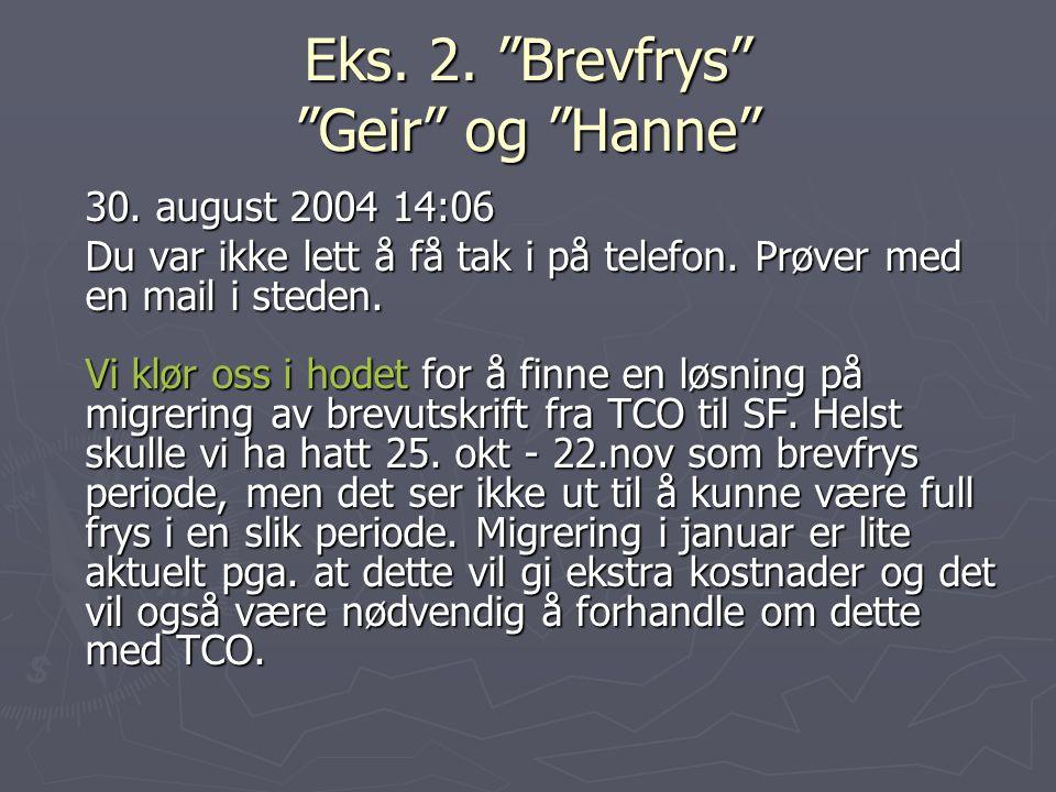 Eks. 2. Brevfrys Geir og Hanne