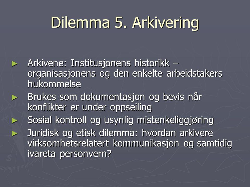 Dilemma 5. Arkivering Arkivene: Institusjonens historikk – organisasjonens og den enkelte arbeidstakers hukommelse.