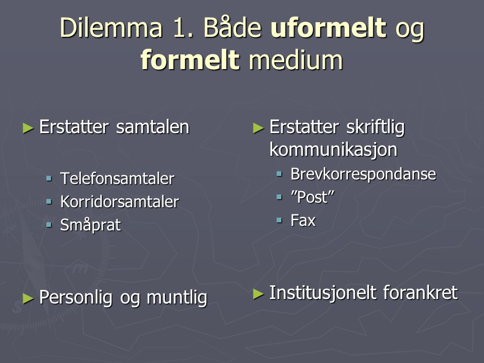 Dilemma 1. Både uformelt og formelt medium