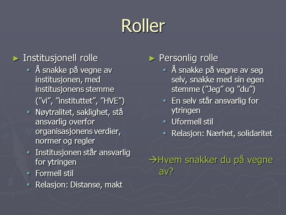 Roller Institusjonell rolle Personlig rolle