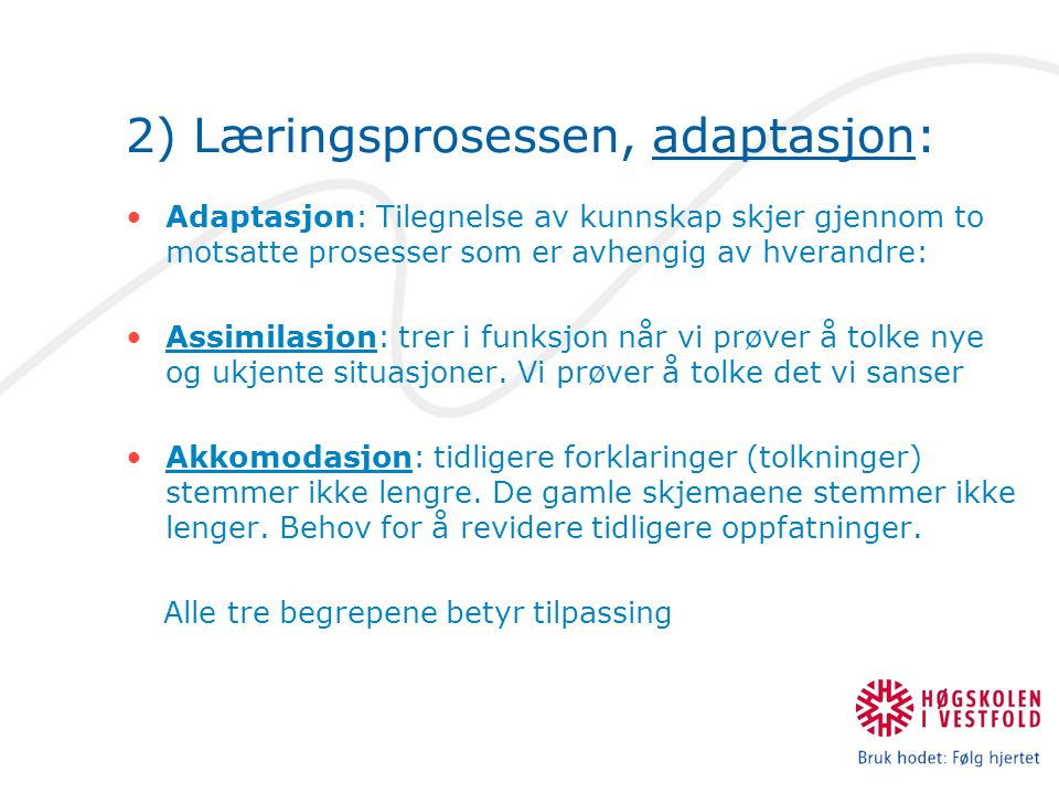 2) Læringsprosessen, adaptasjon: