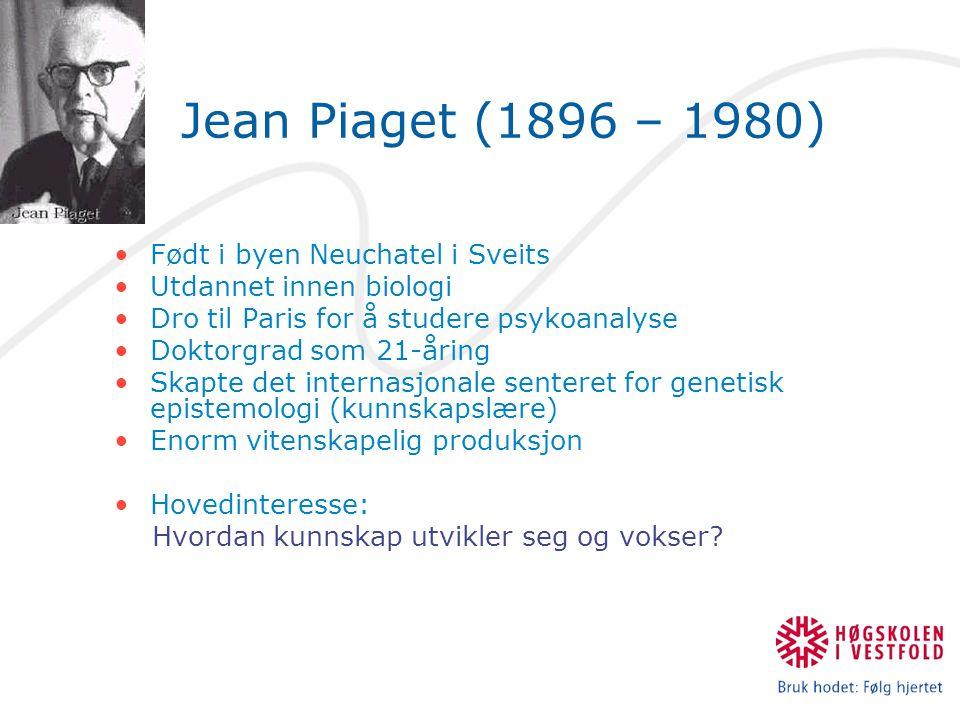 Jean Piaget (1896 – 1980) Født i byen Neuchatel i Sveits