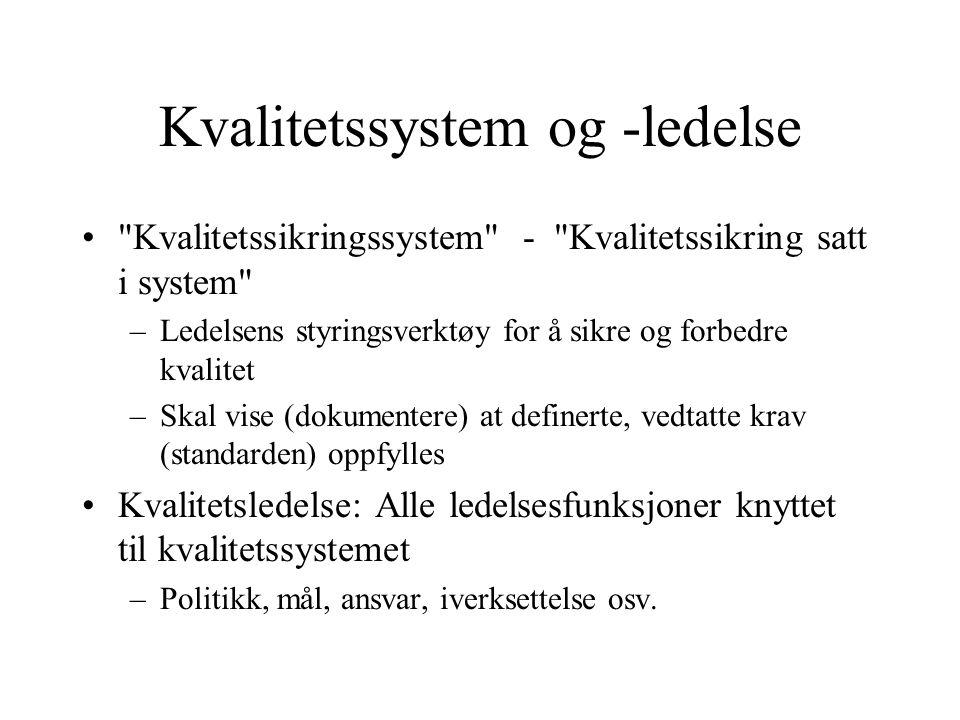 Kvalitetssystem og -ledelse