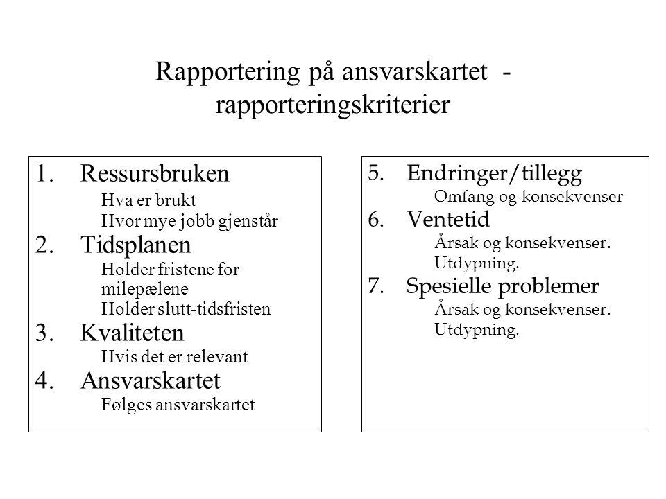 Rapportering på ansvarskartet - rapporteringskriterier