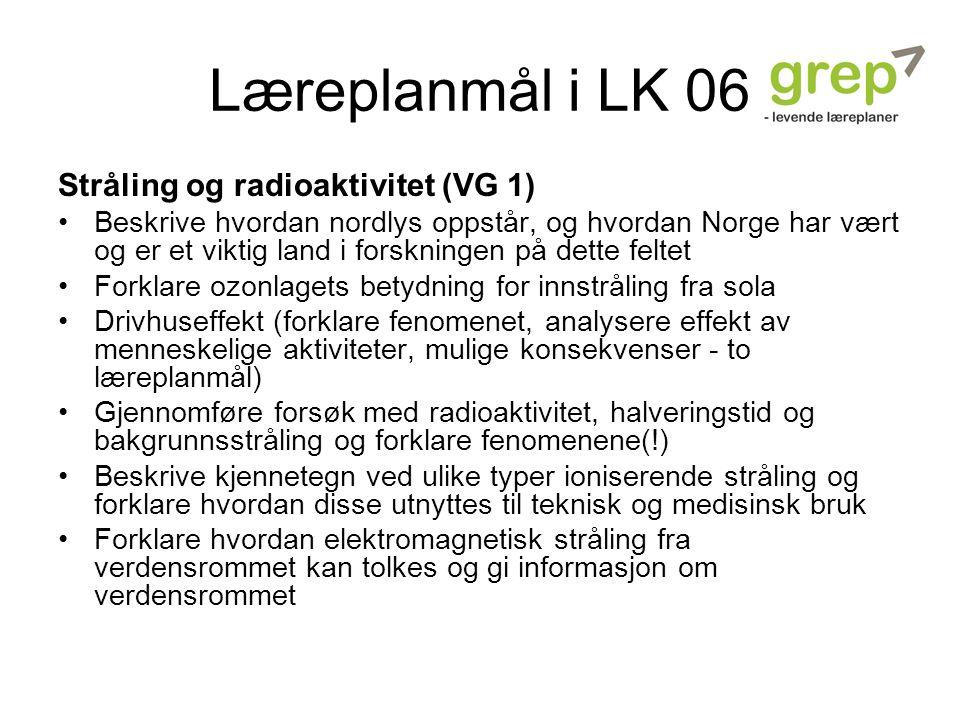 Læreplanmål i LK 06 Stråling og radioaktivitet (VG 1)