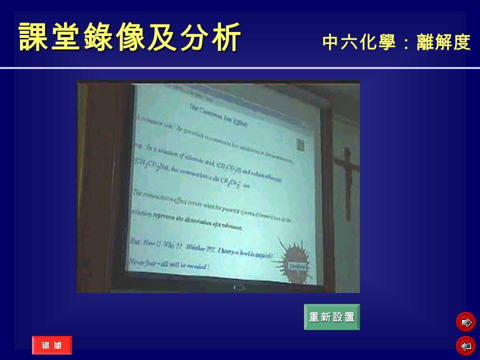 課堂錄像及分析 中六化學:離解度