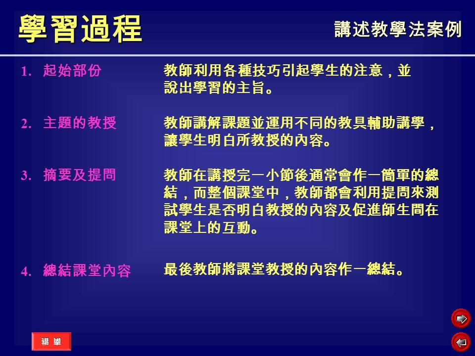 學習過程 講述教學法案例 1. 起始部份 2. 主題的教授 3. 摘要及提問 4. 總結課堂內容