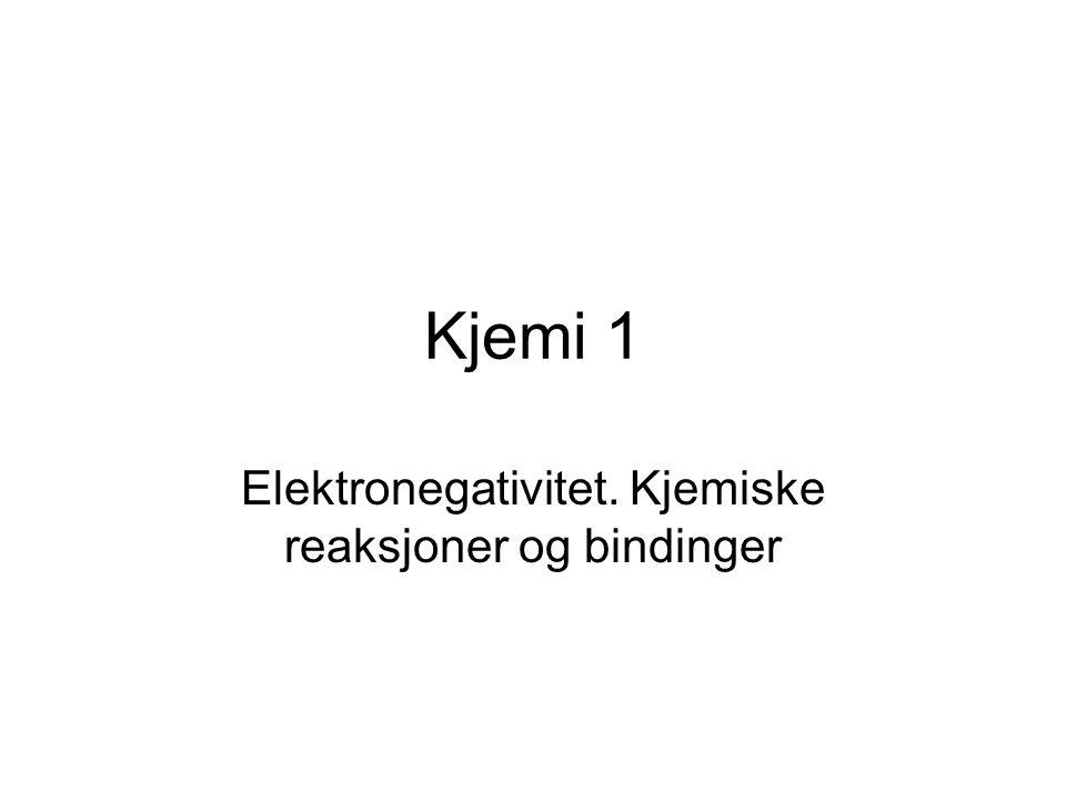 Elektronegativitet. Kjemiske reaksjoner og bindinger