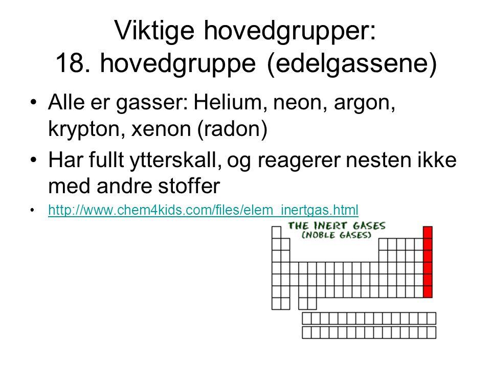 Viktige hovedgrupper: 18. hovedgruppe (edelgassene)