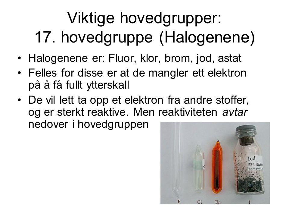 Viktige hovedgrupper: 17. hovedgruppe (Halogenene)