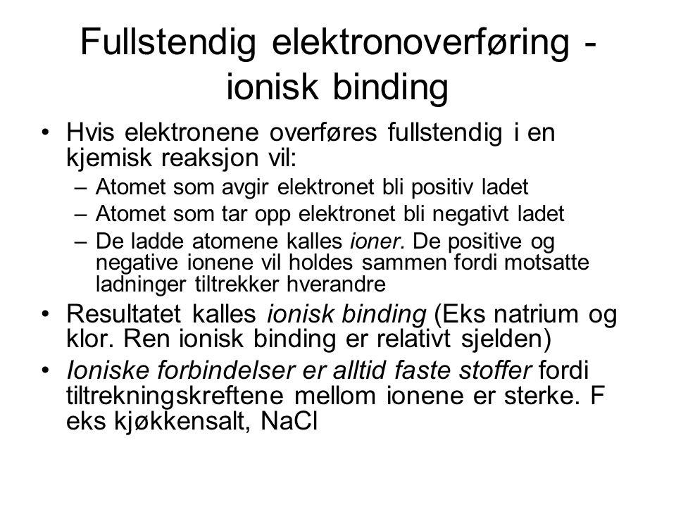 Fullstendig elektronoverføring - ionisk binding