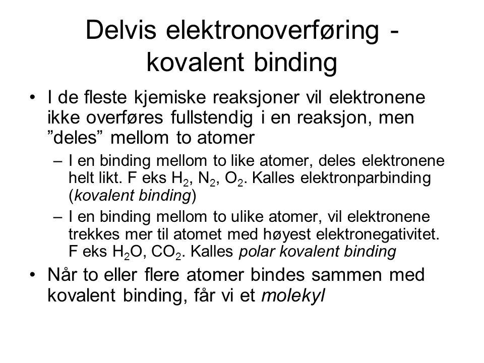 Delvis elektronoverføring - kovalent binding