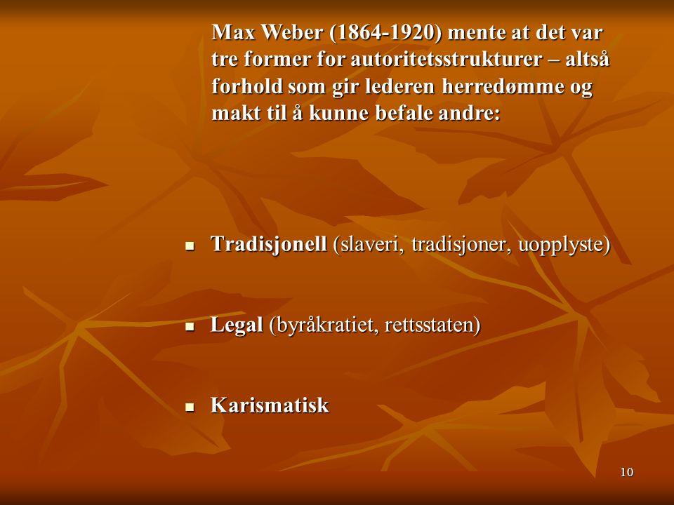 Max Weber (1864-1920) mente at det var tre former for autoritetsstrukturer – altså forhold som gir lederen herredømme og makt til å kunne befale andre:
