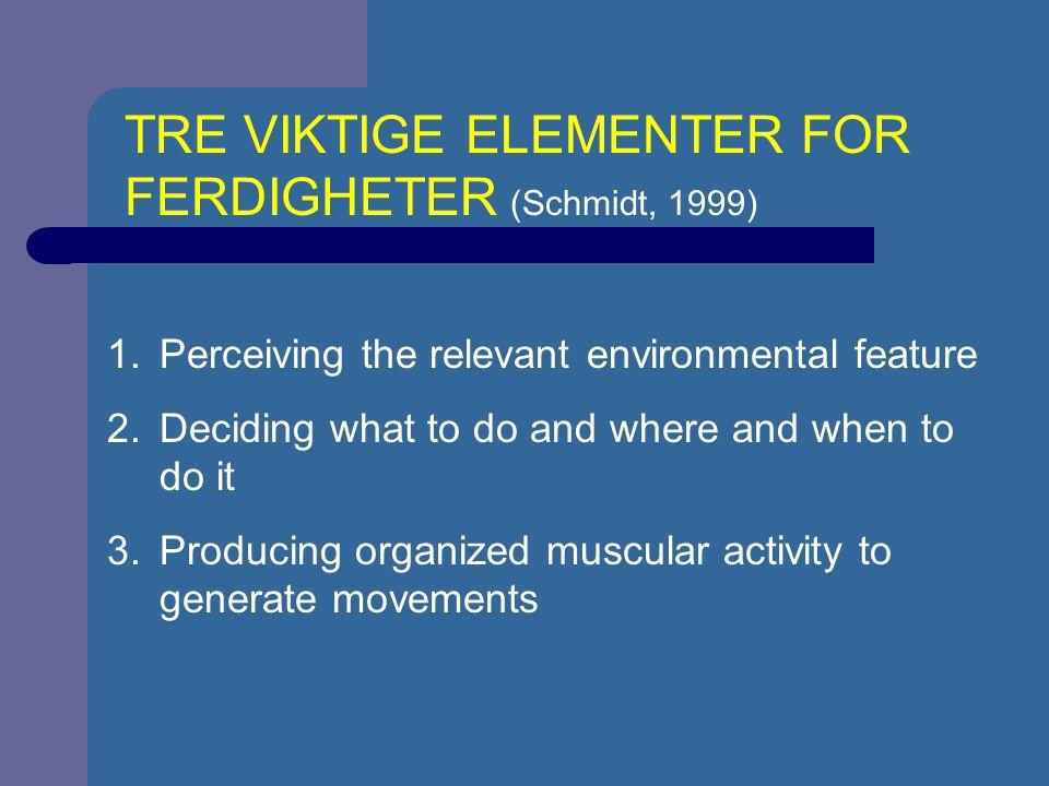 TRE VIKTIGE ELEMENTER FOR FERDIGHETER (Schmidt, 1999)