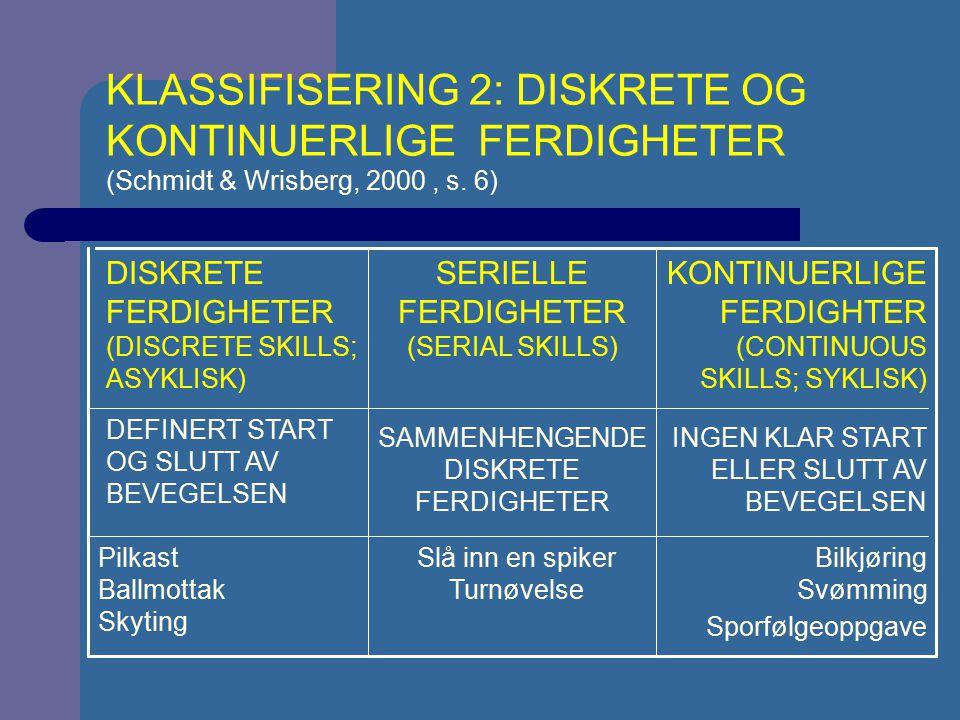 KLASSIFISERING 2: DISKRETE OG KONTINUERLIGE FERDIGHETER (Schmidt & Wrisberg, 2000 , s. 6)