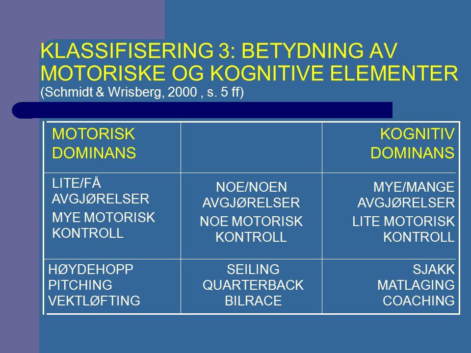 KLASSIFISERING 3: BETYDNING AV MOTORISKE OG KOGNITIVE ELEMENTER (Schmidt & Wrisberg, 2000 , s. 5 ff)