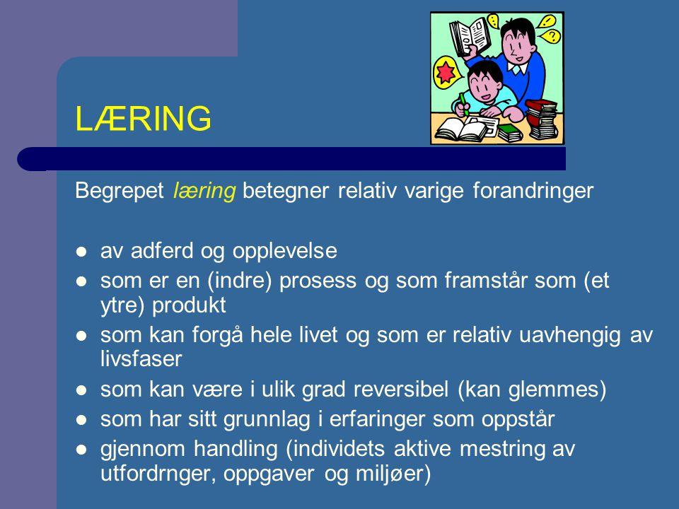 LÆRING Begrepet læring betegner relativ varige forandringer