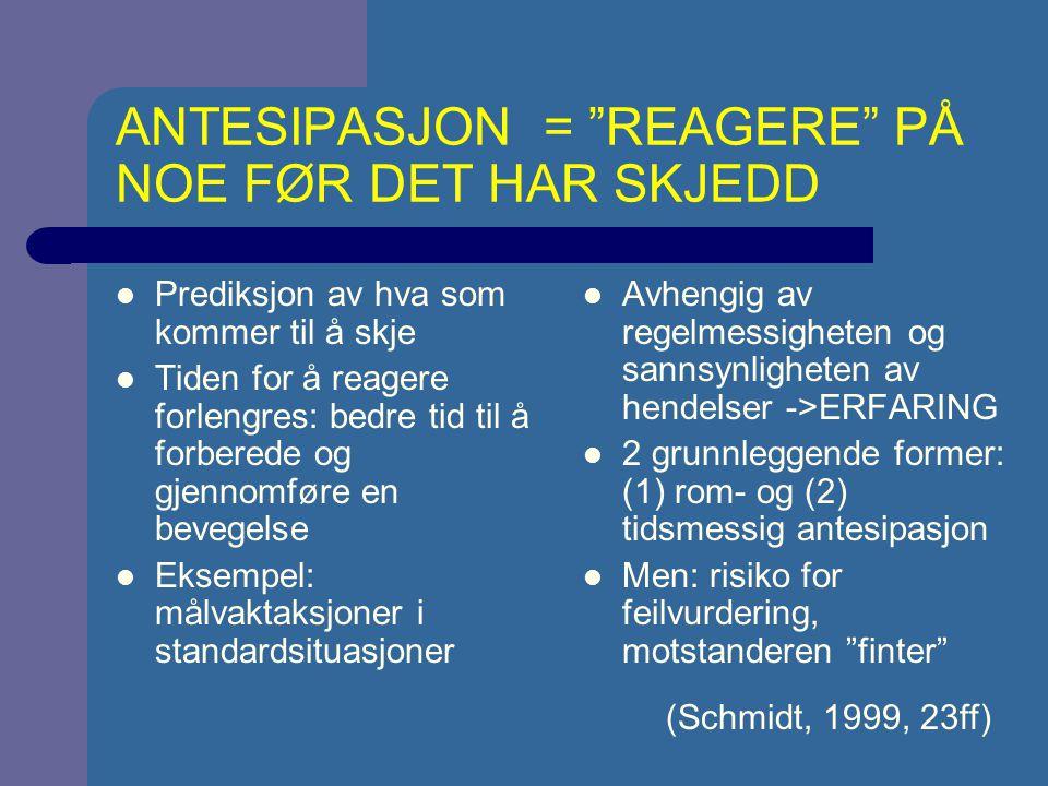ANTESIPASJON = REAGERE PÅ NOE FØR DET HAR SKJEDD