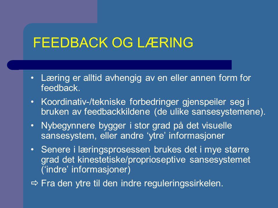 FEEDBACK OG LÆRING Læring er alltid avhengig av en eller annen form for feedback.