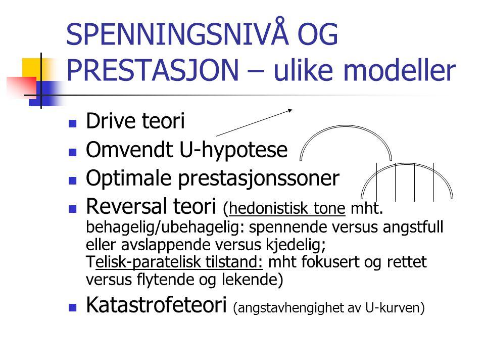 SPENNINGSNIVÅ OG PRESTASJON – ulike modeller