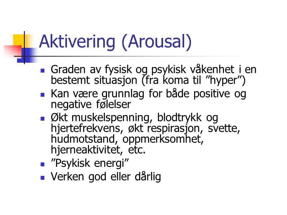 Aktivering (Arousal) Graden av fysisk og psykisk våkenhet i en bestemt situasjon (fra koma til hyper )