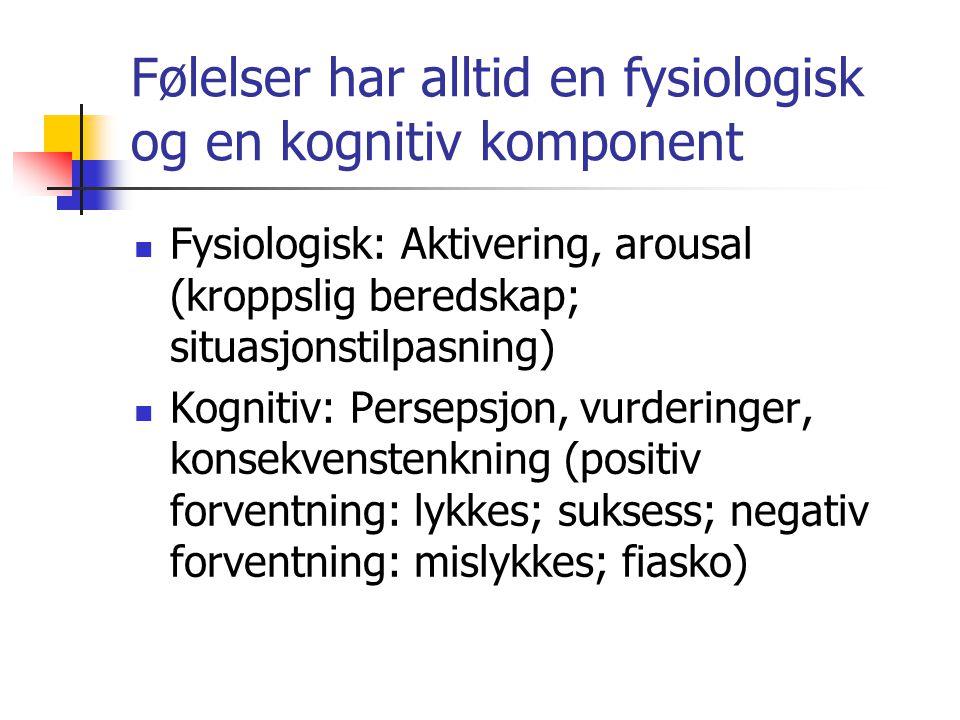 Følelser har alltid en fysiologisk og en kognitiv komponent
