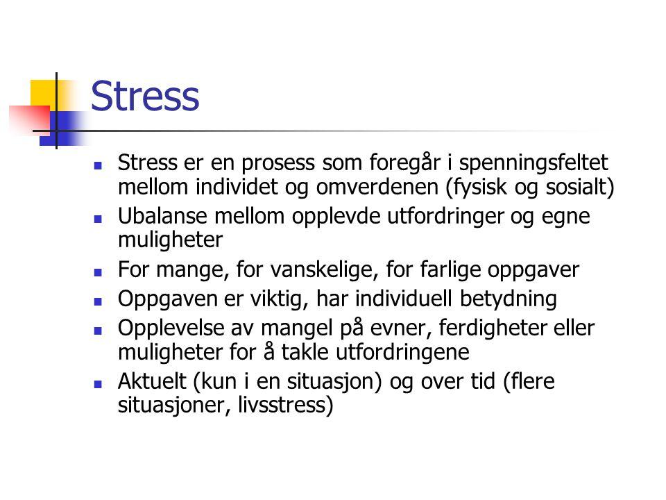 Stress Stress er en prosess som foregår i spenningsfeltet mellom individet og omverdenen (fysisk og sosialt)