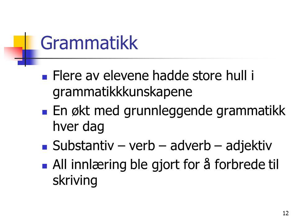 Grammatikk Flere av elevene hadde store hull i grammatikkkunskapene