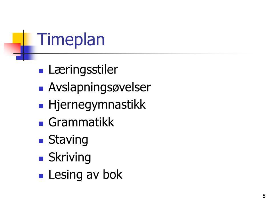 Timeplan Læringsstiler Avslapningsøvelser Hjernegymnastikk Grammatikk