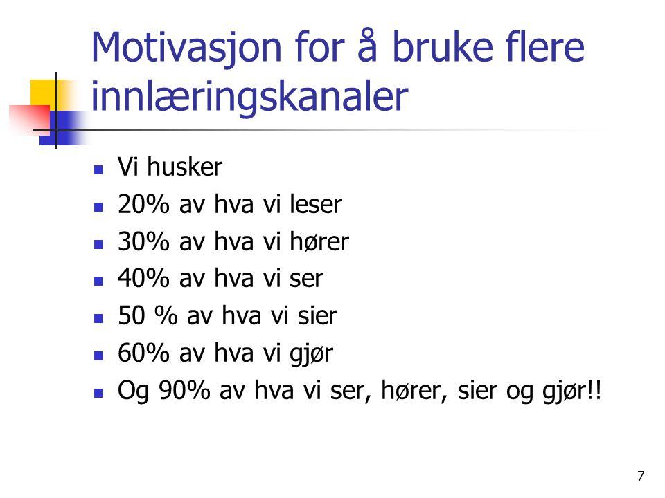 Motivasjon for å bruke flere innlæringskanaler