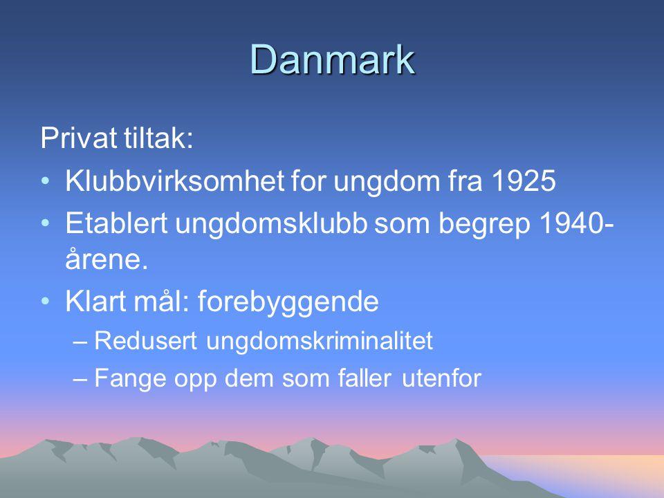 Danmark Privat tiltak: Klubbvirksomhet for ungdom fra 1925