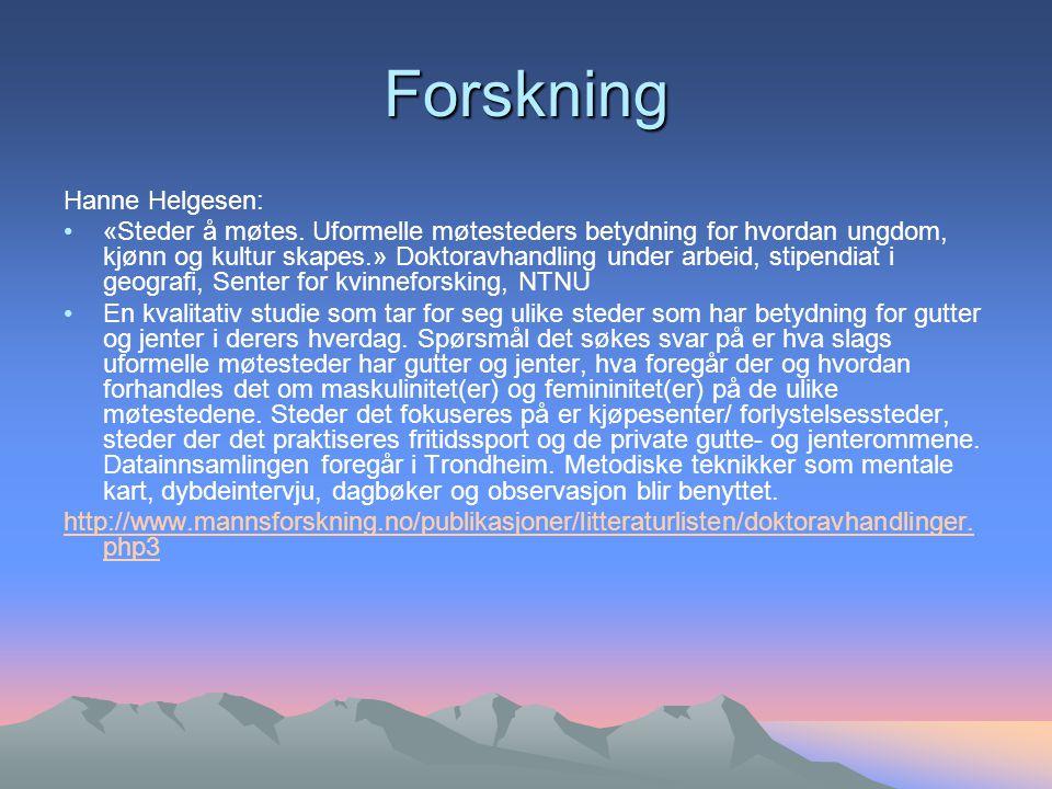 Forskning Hanne Helgesen: