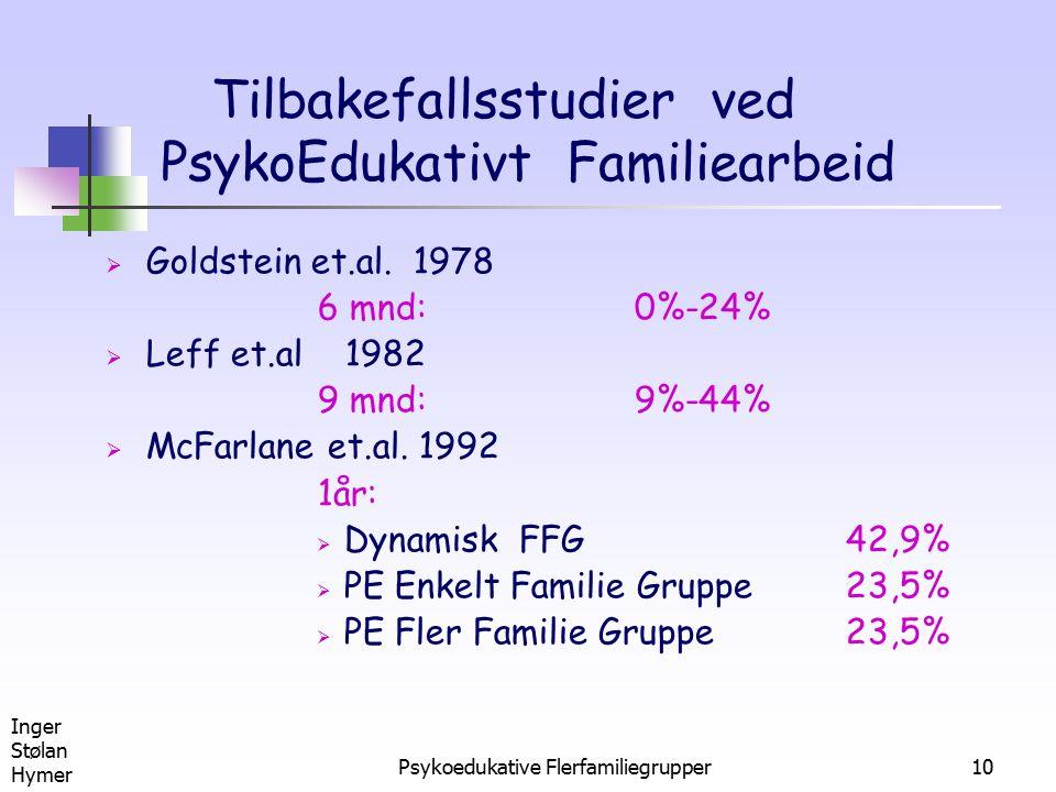 Utvikling Av Tilbakefallsstudier ved PsykoEdukativt Familiearbeid