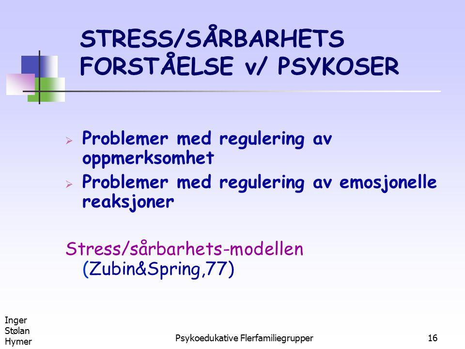 STRESS/SÅRBARHETS FORSTÅELSE v/ PSYKOSER