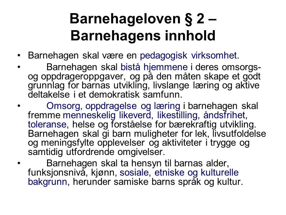 Barnehageloven § 2 – Barnehagens innhold
