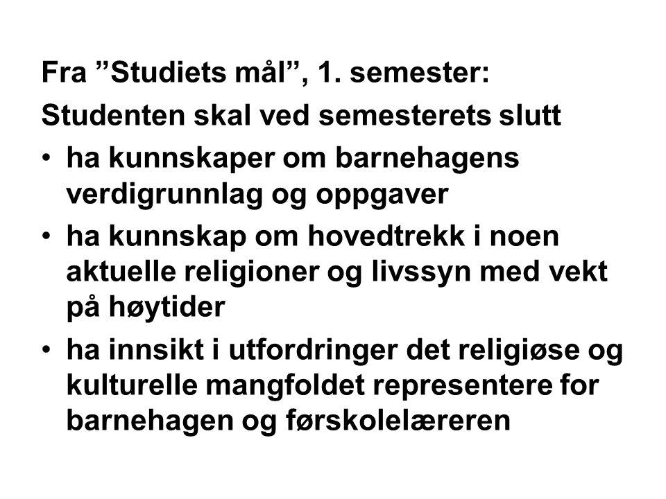 Fra Studiets mål , 1. semester: