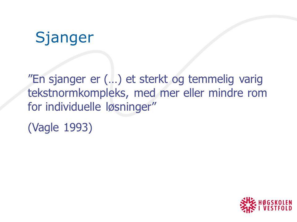 Sjanger En sjanger er (…) et sterkt og temmelig varig tekstnormkompleks, med mer eller mindre rom for individuelle løsninger