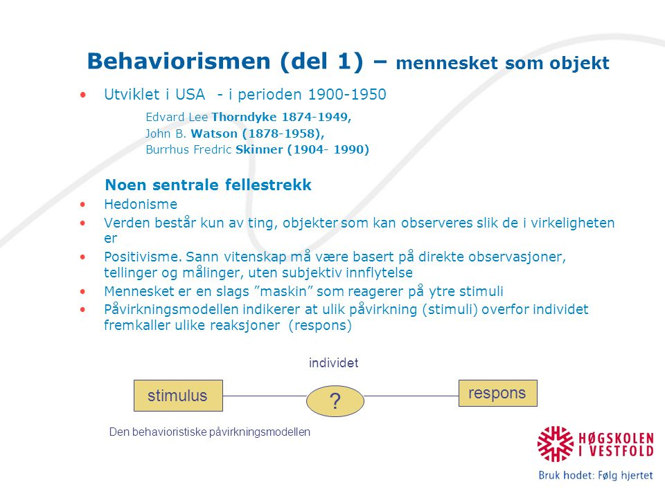 Behaviorismen (del 1) – mennesket som objekt