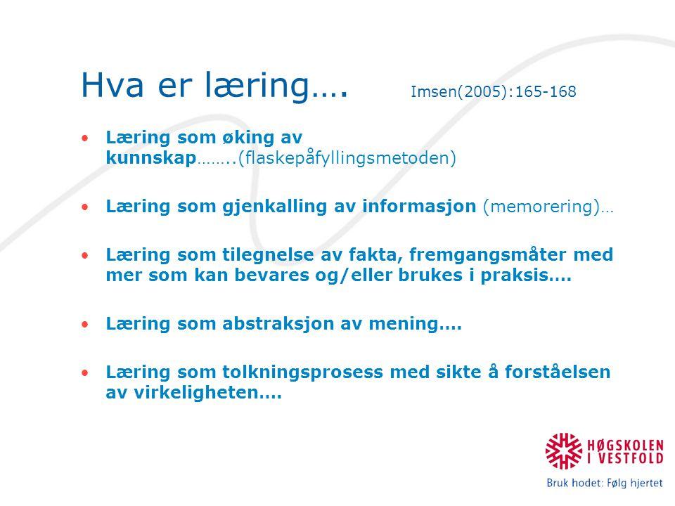 Hva er læring…. Imsen(2005):165-168