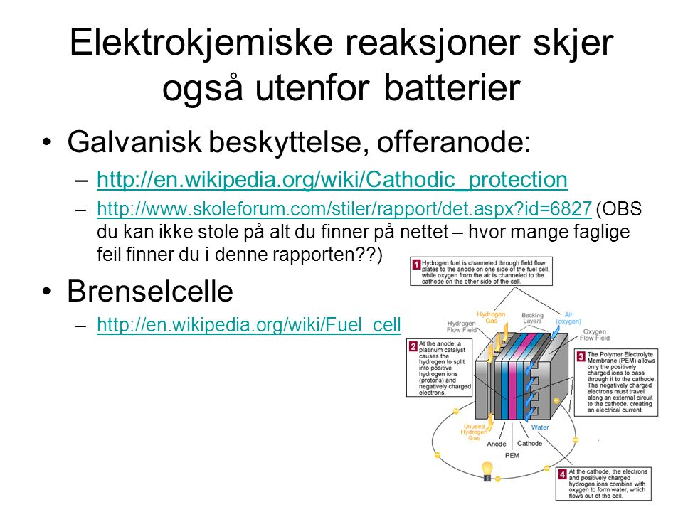 Elektrokjemiske reaksjoner skjer også utenfor batterier