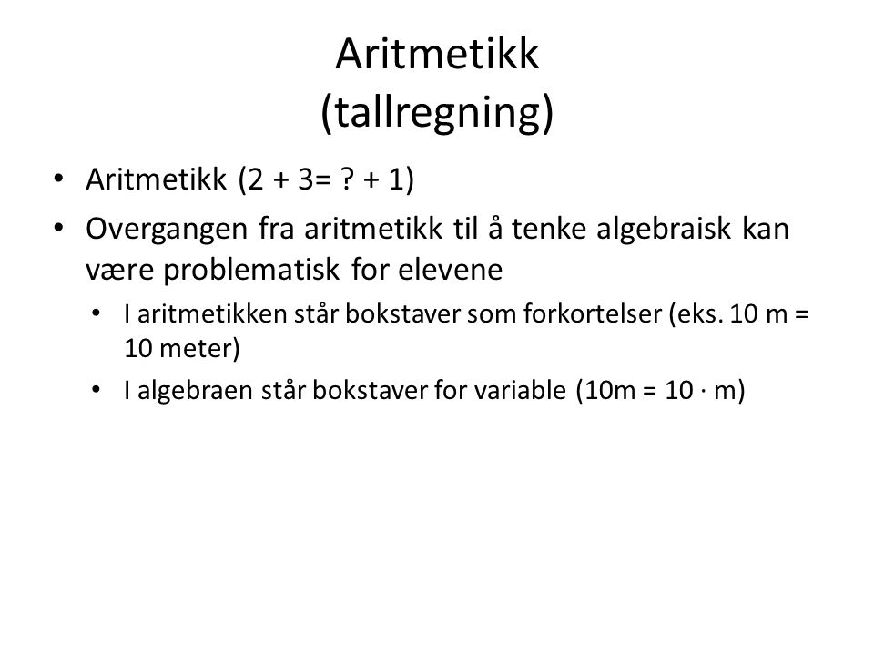 Aritmetikk (tallregning)