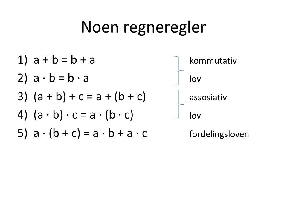 Noen regneregler a + b = b + a kommutativ a ∙ b = b ∙ a lov